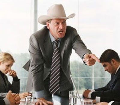 A boss shouting
